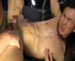 【ゲイ動画 erovideo】首輪を付けられ手足を縛られたドМイケメンが複数の男にガン掘りされ大量射精