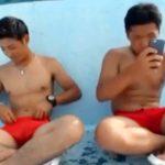 【無修正ゲイ動画】水泳部員2人が競パンでシコる野外オナニー!ノンケでもお互いのチンコを見て興奮ww